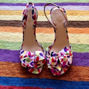 Kate Spade colorful heels with 4 point bow design